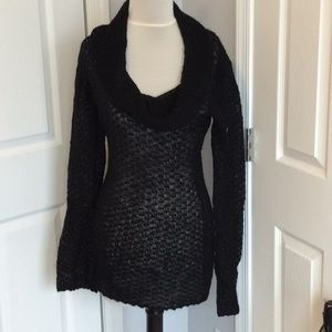 New Guess Long Black Cowl Neck Sweater